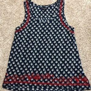 Lucky brand tank top shirt navy and red